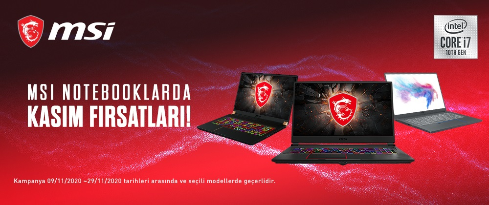 MSI NOTEBOOKLARDA KASIM FIRSATLARI