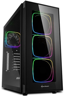En ucuz Sharkoon TG6 650W 80+ Tempered Glass RGB USB 3.0 ATX Mid Tower Kasa  Fiyatı