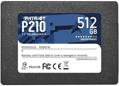 Patriot 512GB P210 Okuma 520MB-Yazma 430MB SATA SSD Harddisk (P210S512G25)
