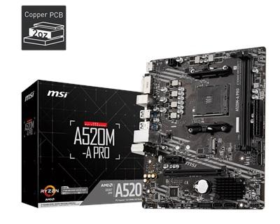 En ucuz MSI A520M-A PRO 4600mhz(OC) M.2 AM4 maTX Anakart Fiyatı