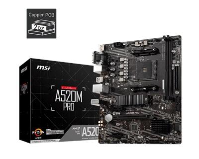 En ucuz MSI A520M PRO 4600mhz(OC) RGB M.2 AM4 mATX Anakart Fiyatı