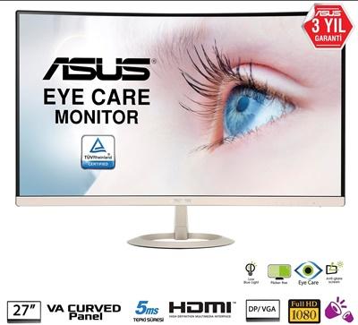 """En ucuz Asus 27"""" VZ27VQ 5ms 75hz D-Sub,DPPort,HDMI FreeSync,G-Sync Curved Monitör Fiyatı"""