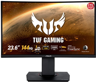 "En ucuz Asus 24"" TUF Gaming VG24VQ 1ms 144hz HDMI,DisplayPort Curved FreeSync Gaming Monitör Fiyatı"