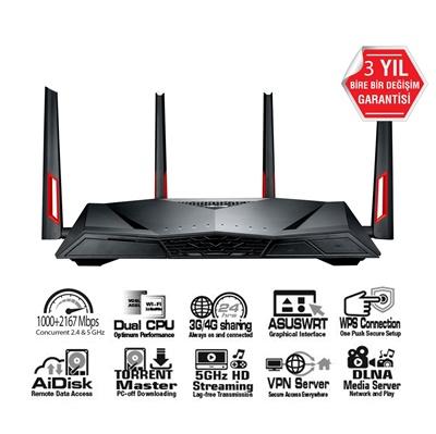 En ucuz Asus DSL-AC88U 2167Mbps 4 Port VDSL/ADSL Modem Router  Fiyatı