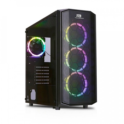 En ucuz PowerBoost X58 650W 80+ RGB Tempered Glass USB 3.0 ATX Mid Tower Kasa  Fiyatı