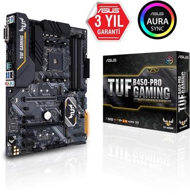 Asus TUF B450 Pro Gaming 4400mhz(OC) RGB M.2 AM4 ATX Anakart