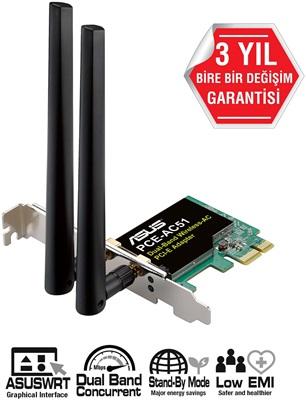 En ucuz Asus PCE-AC51 300Mbps  PCI-E Kablosuz Ağ Adaptör Fiyatı