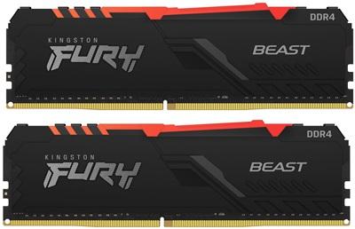 Kingston 16GB(2x8) Fury Beast RGB 3200mhz CL16 DDR4  Ram (KF432C16BBAK2/16)