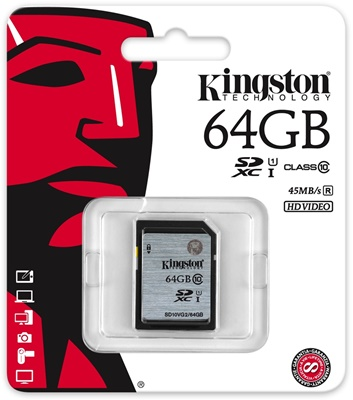 Kingston 64GB SDXC UHS-I Class 10 (SD10VG2/64GB)