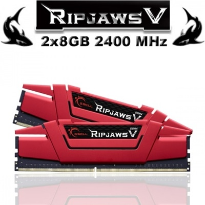 G.Skill 16GB(2x8) RipjawsV Kırmızı 2400mhz CL15 DDR4  Ram (F4-2400C15D-16GVR)