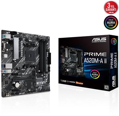 Asus Prime A520M-A II 4866mhz(OC) RGB M.2 AM4 mATX Anakart