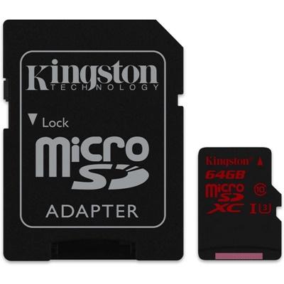 En ucuz Kingston 64GB MicroSDHC 90MB/s Class 3 UHS-I Hafıza Kartı (SDCA3/64GB) Fiyatı