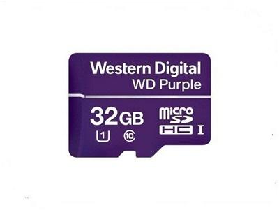 WD 32GB MicroSDHC Purple Survelliance 100 MB/s U1 Class 10 Hafıza Kartı (WDD032G1P0A)