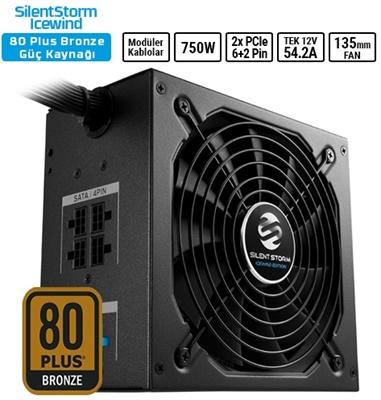 Sharkoon 750W SilenStorm Icewind Black Serisi 80+ Bronze Yarı Modüler Güç Kaynağı