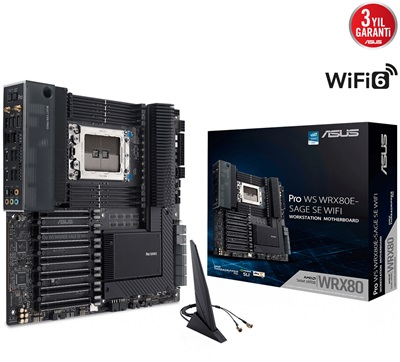 Asus PRO WS WRX80E-SAGE SE 3200mhz(OC) M.2 Wi-Fi WRX80 e-ATX Anakart