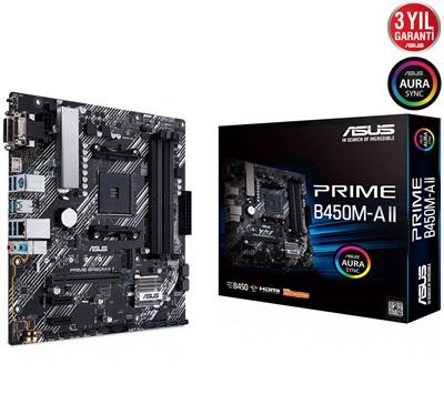 En ucuz Asus Prime B450M-A II 4400mhz(OC) RGB M.2 AM4 mATX Anakart Fiyatı