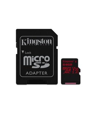 Kingston 64GB MicroSDXC Canvas React 100MB/s UHS-I U3 Class 10 Hafıza Kartı (SDCR/64GB)