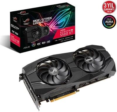 Asus Radeon RX 5500 XT Rog Strix O8G Gaming 8GB GDDR6 128 Bit Ekran Kartı
