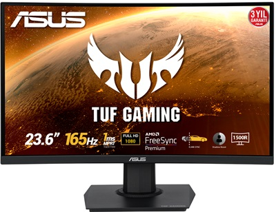 "Asus 23.6"" TUF Gaming VG24VQE 1ms 165hz HDMI,DisplayPort FreeSync Curved Gaming Monitör"