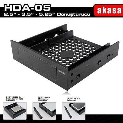 """Akasa 5.25"""" Multi-Fonksiyonel 2.5""""/3.5"""" SSD / HDD Dönüştürücü Aparat"""