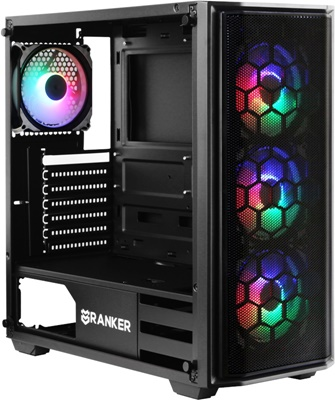 En ucuz Ranker Cygnus 650W 80+ Tempered Glass RGB USB 3.0 ATX Mid Tower Gaming Kasa Fiyatı