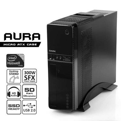 En ucuz Dark Aura 300W USB 2.0 Kart Okuyuculu mATX Mini Tower Kasa  Fiyatı