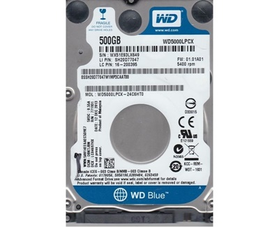 WD 500GB Blue 16MB 5400rpm (WD5000LPCX) Notebook Disk