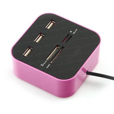 En ucuz Dark UCR202 USB MicroSD/SD/MMC/M2/MS PRO DUO Kart Okuyuculu USB Hub   Fiyatı
