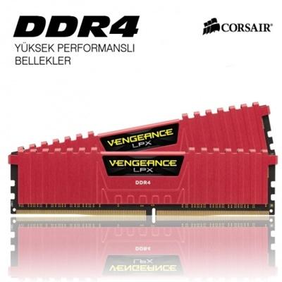 Corsair 16GB(2x8) Vengeance Lpx Kırmızı 2400mhz CL14 DDR4  Ram (CMK16GX4M2A2400C14R)